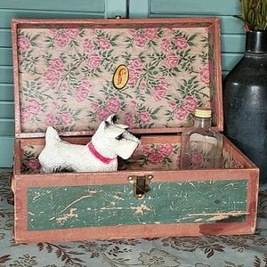 Vintage Green Paper Covered Wood Box w Floral